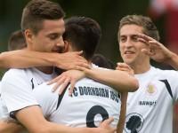 Fussball, Regionalliga West, 9. Spieltag, FC Dornbirn - SW Bregenz, Jubel, Tor zum 1:0 durch Andreas Lo Re