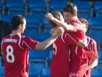 fussball, regionalliga west, derby, scr altach amateure - fc dornbirn,  jubel 0:1 durch christoph domig