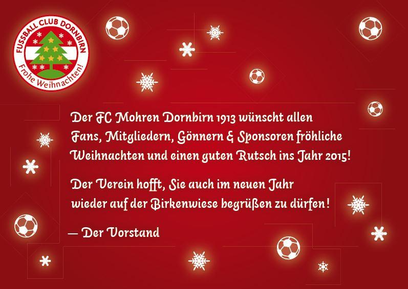 Frohe Weihnachten Und Guten Rutsch In Neues Jahr.Der Fc Mohren Dornbirn 1913 Wunscht Allen Frohe Weihnachten